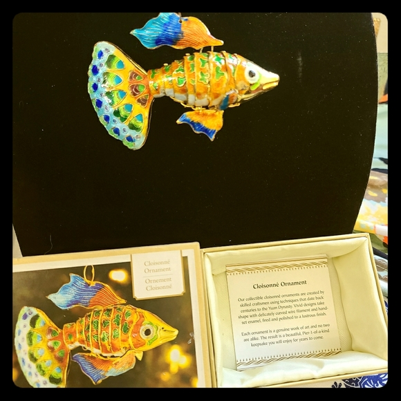 Cloisonne Gold Fish Ornament New in Case